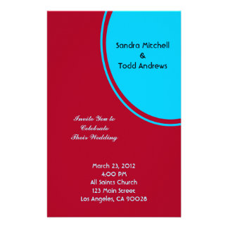 Bright Turquoise Red Modern Wedding Personalized Stationery
