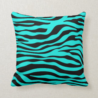 Bright Turquoise Zebra Stripes Animal Print Throw Pillow