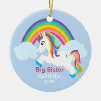 Bright Unicorn Rainbow Big Sister Ornament
