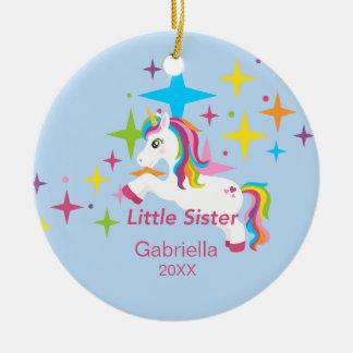Bright Unicorn Rainbow Little Sister Ornament