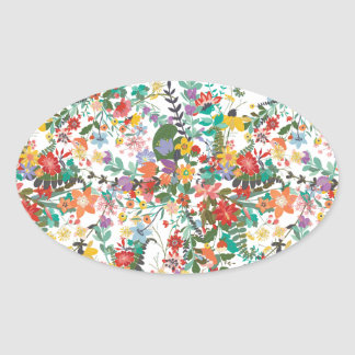 Bright Vector Flowers Pattern Oval Sticker