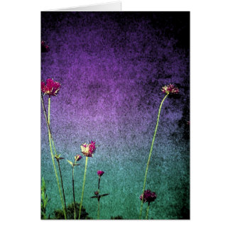 bright vibrant flowered note card or greeting card