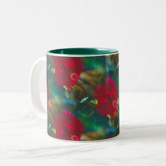 Bright Vibrant Red Tropical Hibiscus two tone mug