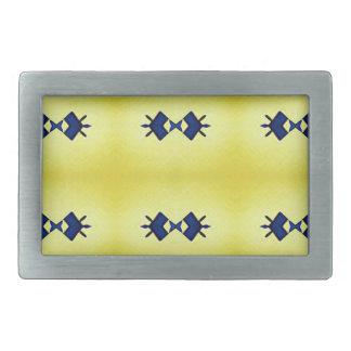 Bright Vibrant Yellow Navy Pattern Belt Buckles