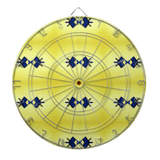 Bright Vibrant Yellow Navy Pattern Dart Boards
