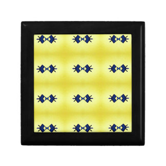 Bright Vibrant Yellow Navy Pattern Gift Box