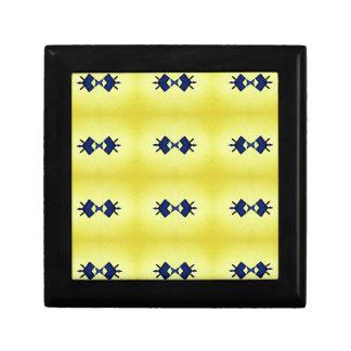 Bright Vibrant Yellow Navy Pattern Keepsake Box