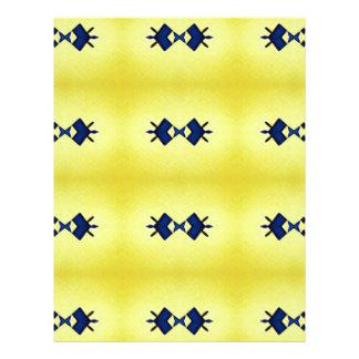 Bright Vibrant Yellow Navy Pattern Letterhead