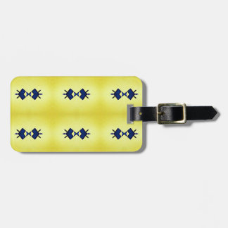 Bright Vibrant Yellow Navy Pattern Luggage Tag
