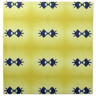 Bright Vibrant Yellow Navy Pattern Napkin