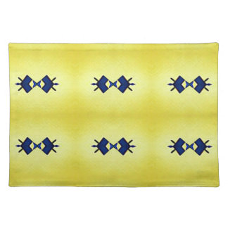 Bright Vibrant Yellow Navy Pattern Placemat