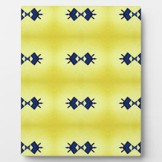 Bright Vibrant Yellow Navy Pattern Plaque