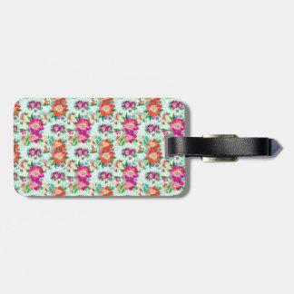 Bright Vintage Floral Pattern Luggage Tag