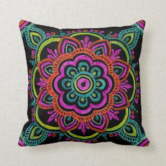 Bright vintage Mexican floral design pillow