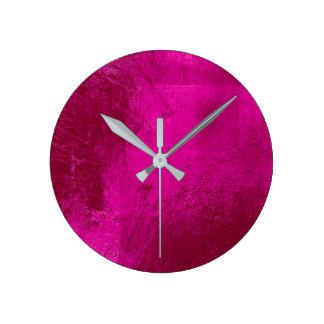 Bright Vivid Pink Leather Metal Glass Minimal Round Clock