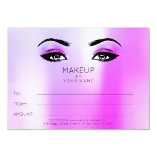 Bright Vivid Pink Makeup Beauty Certificate Gift Card