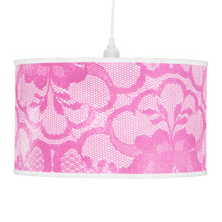 Bright Vivid Pink Rose Lace Glam White Luxury Pendant Lamp