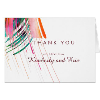 Bright Watercolor Brush Wedding Thank You Cards
