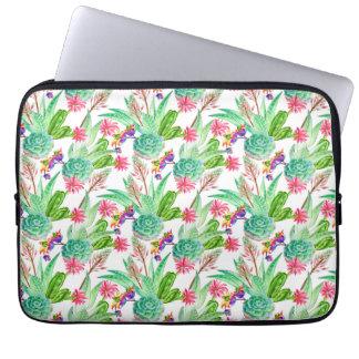 Bright Watercolor Cactus & Succulent Pattern Laptop Sleeve