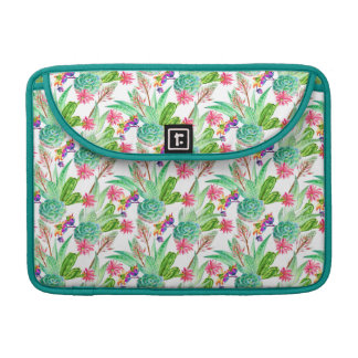Bright Watercolor Cactus & Succulent Pattern Sleeve For MacBooks