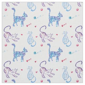 Bright watercolor cat graphic pattern design fabric