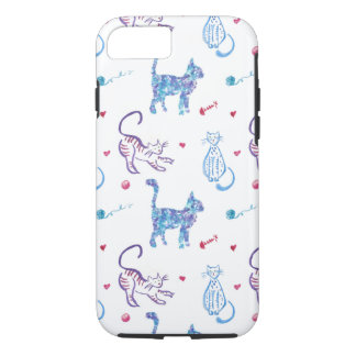 Bright watercolor cat graphic pattern design iPhone 8/7 case