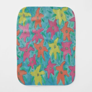 Bright Watercolor Flowers Burp Cloth
