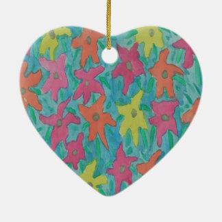 Bright Watercolor Flowers Ceramic Ornament