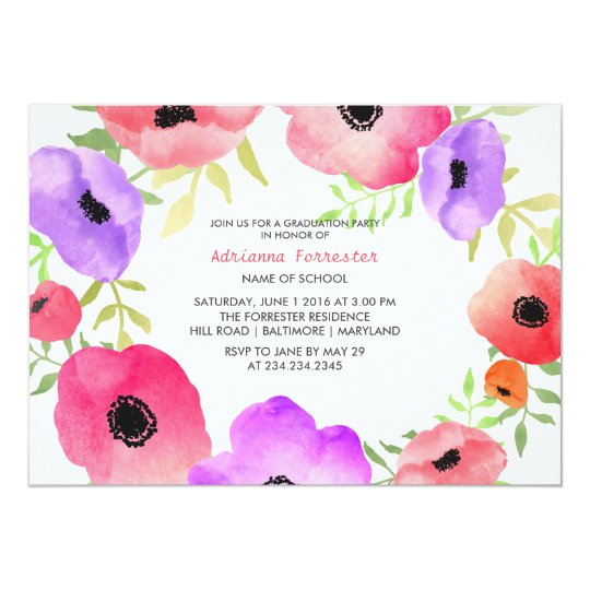 Bright Watercolor Flowers Graduation Party Card