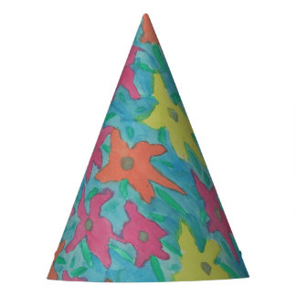 Bright Watercolor Flowers Party Hat