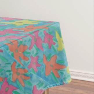 Bright Watercolor Flowers Tablecloth