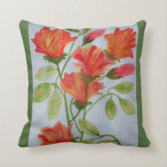 Bright watercolor flowers throw pillow