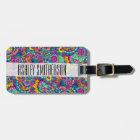 Bright watercolor hand drawn mandala floral luggage tag