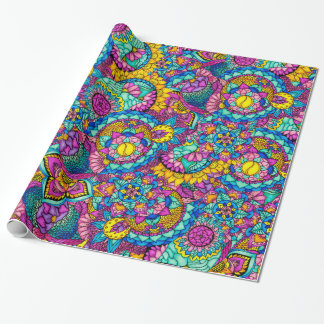 Bright watercolor hand drawn mandala floral wrapping paper