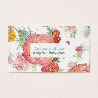 Bright Watercolor Peonies Custom Business Card