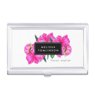 Bright Watercolor Pink Peonies Floral Bouquet Business Card Holder