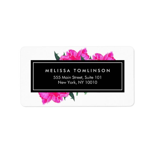 Bright Watercolor Pink Peonies Floral Bouquet Label