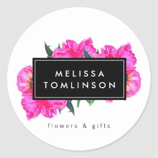 Bright Watercolor Pink Peonies Floral Bouquet Round Sticker