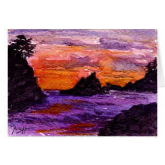 Bright Watercolor Sunset over the Ocean Card