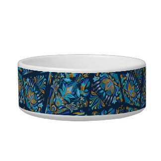 Bright wedding geometric floral tradition pattern pet bowls
