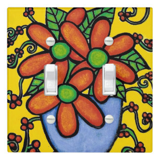 Bright Whimsical Still Life Flowers Light Switch Cover
