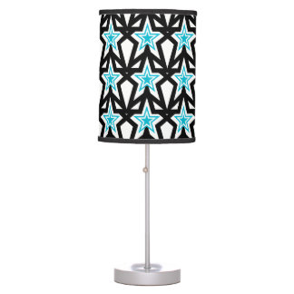 Bright White and Aqua Blue Star Pattern Lamp