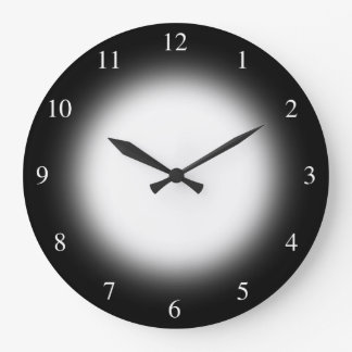 Bright White Glowing Sun on Black Small Numbers Large Clock