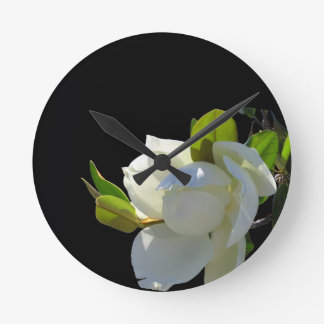 Bright White Magnolia Round Clock