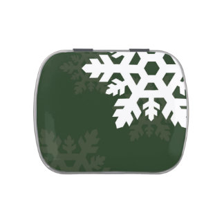 Bright, White Snowflakes against Dark Green