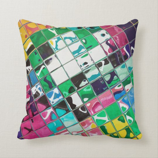 Bright Wild multi colour abstract Throw Pillow