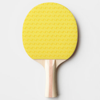 Bright Yellow 3D cubes cascading Ping Pong Paddle