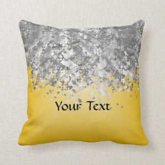 Bright yellow and faux glitter throw pillow
