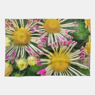 Bright yellow and pink flowers kitchen towel