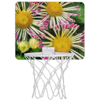 Bright yellow and pink flowers mini basketball hoop